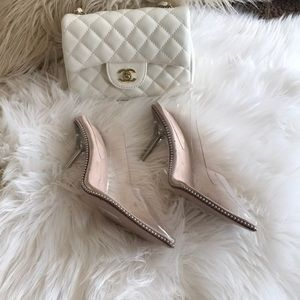 Cape Robbin clear pumps with beaded accent